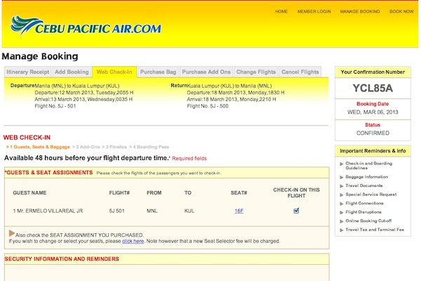 Web Check-in Process Cebu Pacific