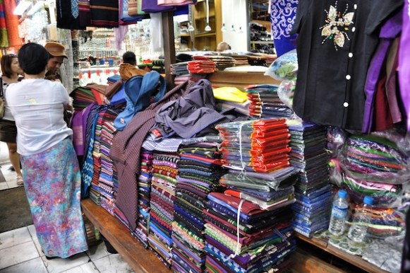 Longyi Shops in Yangon