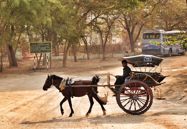 Typical horse cart in Bagan
