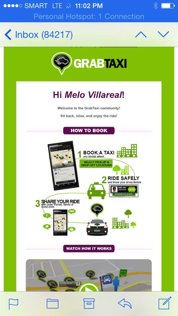 GrabTaxi Welcome Message