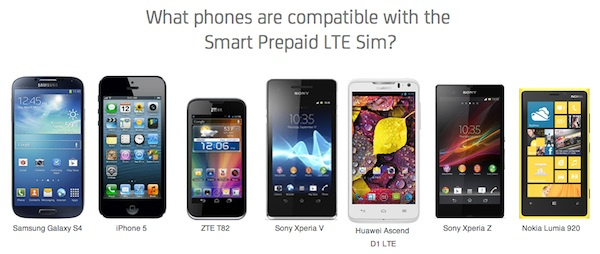 What phones are compatible with the  Smart Prepaid LTE Sim?