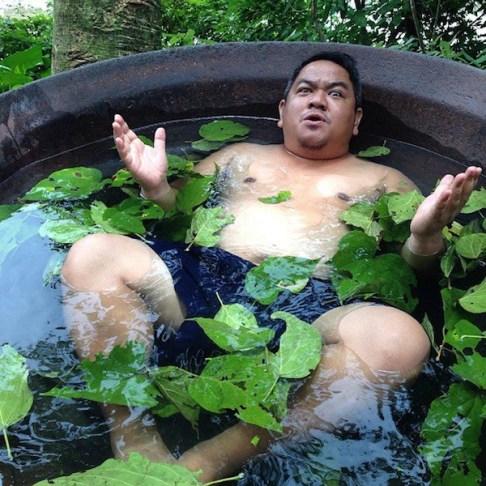 Enjoying the hot bath