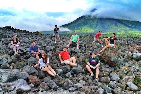 Group Shot at the Mayon Volcano Lava Front