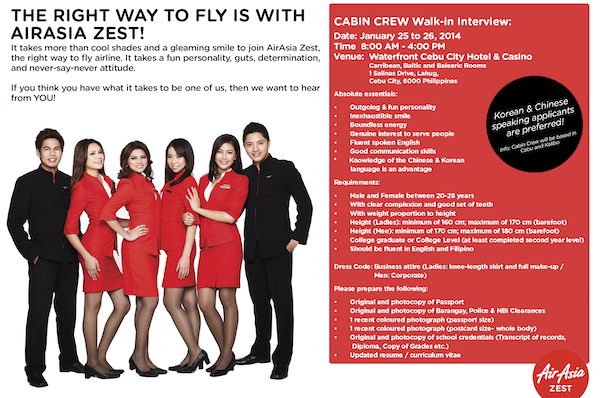 AirAsia Zest is hiring new Cabin Crews from Cebu - Out of