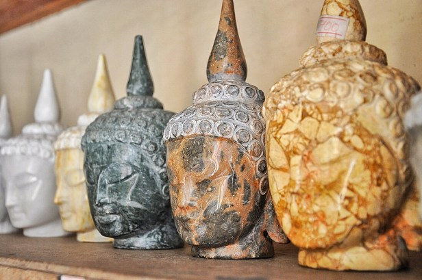 2 Buddha Heads made from various types of Marble