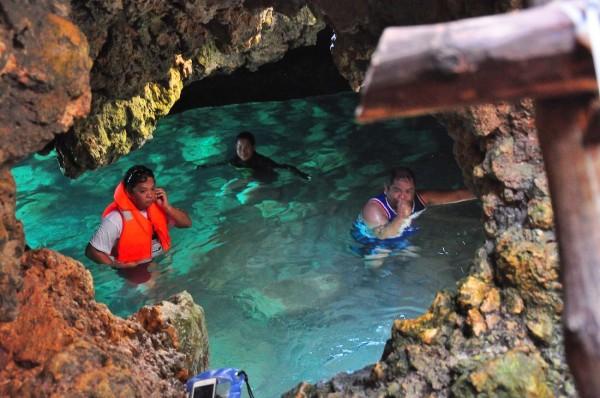 Enjoying the natural salt water pool