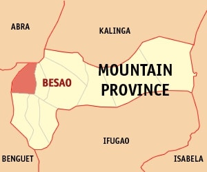 Map of Mountain Province with Besao highlighted by Mike Gonzales via Wikipedia Commons