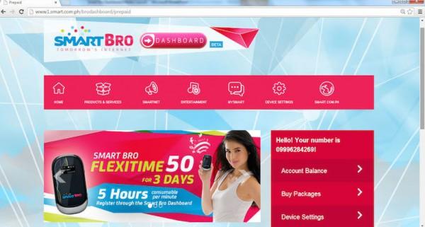 SMART Bro Dashboard home page