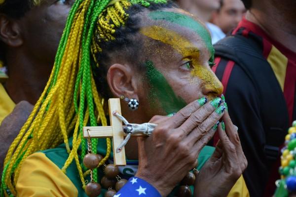 Brazil Fan watching the 2014 World Cup Quarterfinals