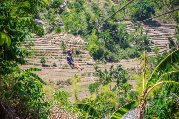 Gianni on the zip line in Tibiao Antique Philippines