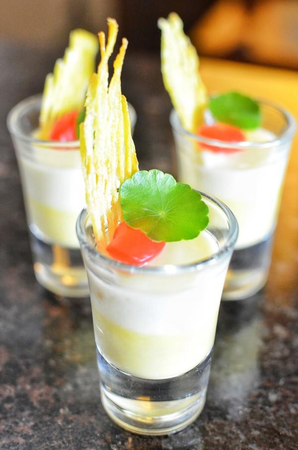 Yellow Camote and Macapuno Panna Cotta (Yellow Sweet Potato with Coconut Panna Cotta Fruit)