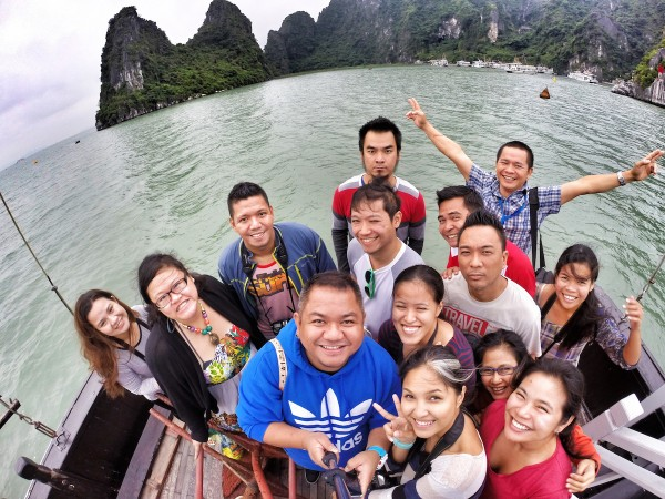 Group GoPro Selfie Shot in front of the Junk Boat