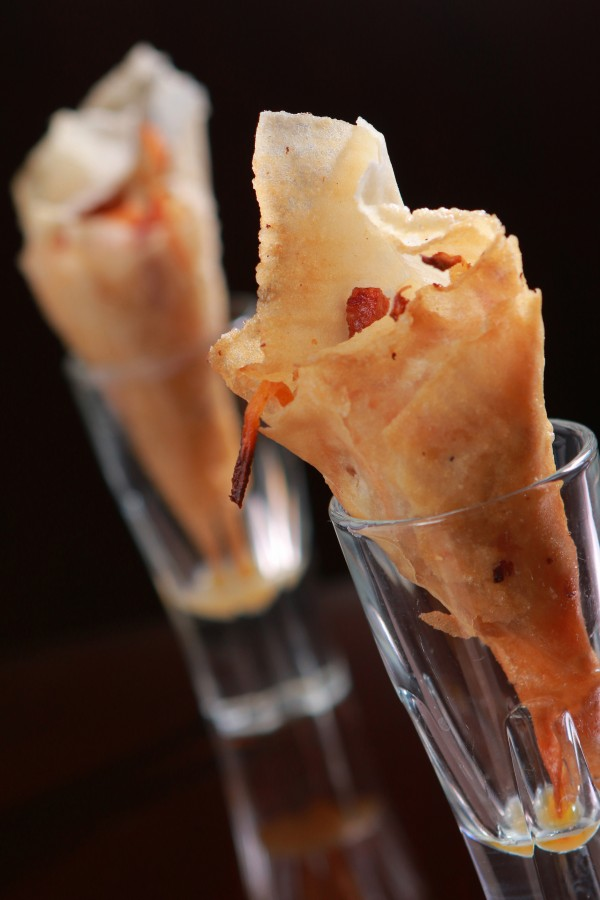 Lumpiang Chorizo and Ubod Cones with Frozen Spicy Vinegar