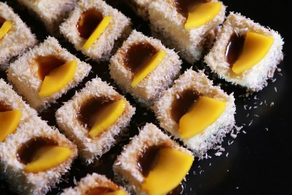 Suman Panna Cotta Rice Cake with Latik and Fresh Mangoes