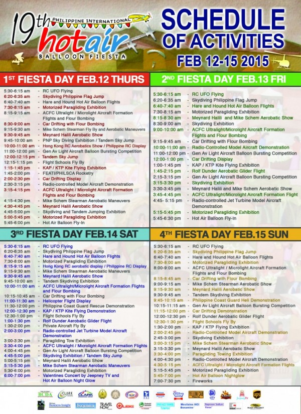 Complete and Updated Hot Air Balloon Fiesta 2015 Schedule of Activities