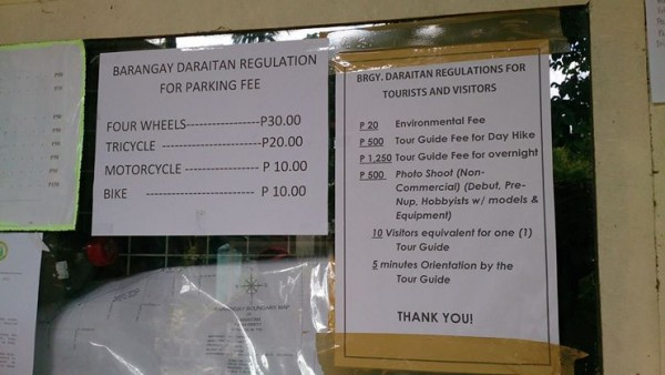 Fees and Regulations before you hike Mt. Daraitan Getaway
