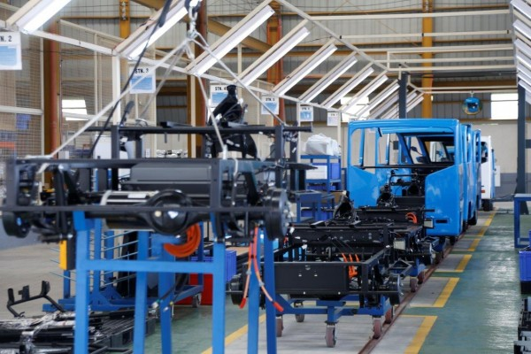 The BEMAC EV assembly line.