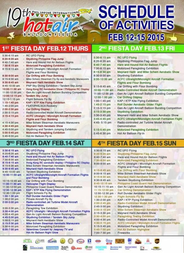 Philippine International Hot Air Balloon Festival 2015 Schedule
