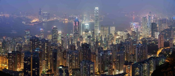 A view from Victoria Peak, looking north over Central, Victoria Harbour and Kowloon at night