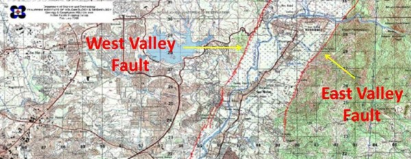 West Valley and East Valley Fault Map