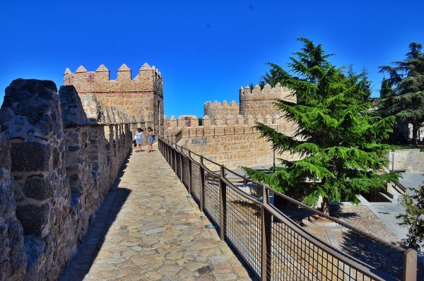 Walking ontop of the walls of Avila