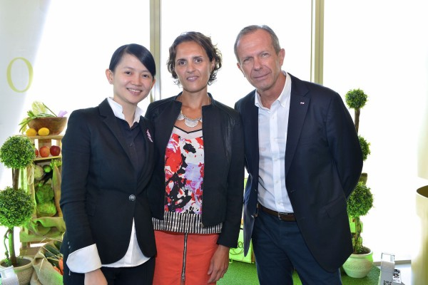 Oliviers&Co. Singapore General Manager May Tan; Oliviers&Co. Co-founder and Director of International Sales, Melanie Costaris; and Oliviers&Co. Singapore Managing Director Michel Beaugier