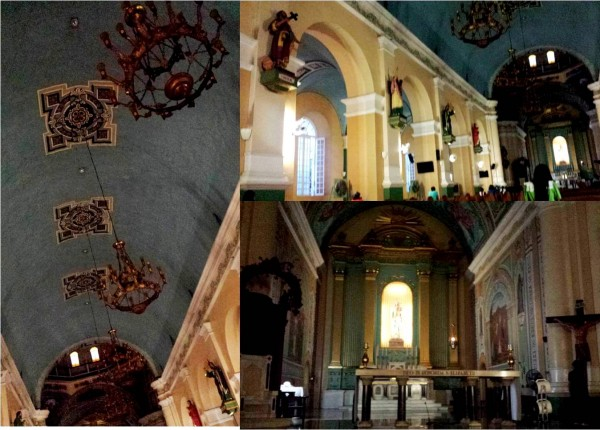 Saints, altar and chandeliers in Jaro Cathedral
