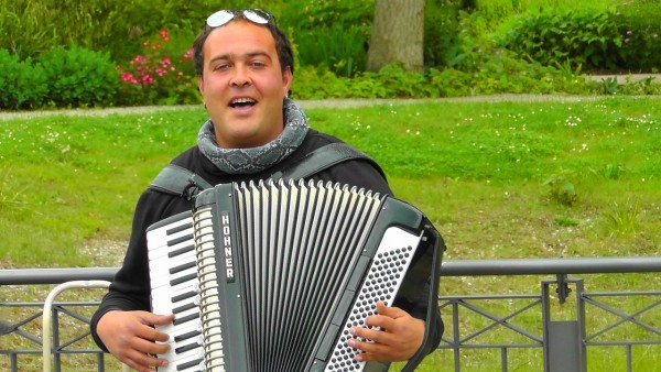 Accordion player in the park