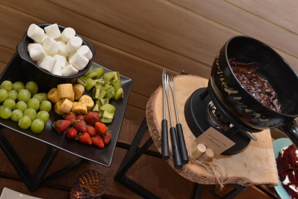 Chocolate Fondue with Assorted Condiments