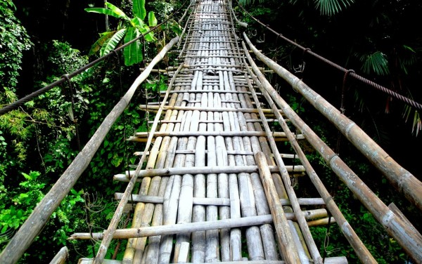 The kawayan hanging bridge
