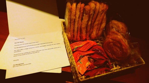 Welcome letter and complimentary snacks