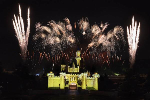 Fireworks at Hong Kong Disneyland