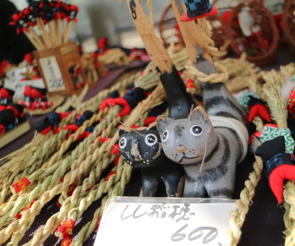 Wooden Cats and Sarubobo dolls