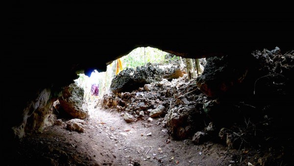 The cave opening from inside
