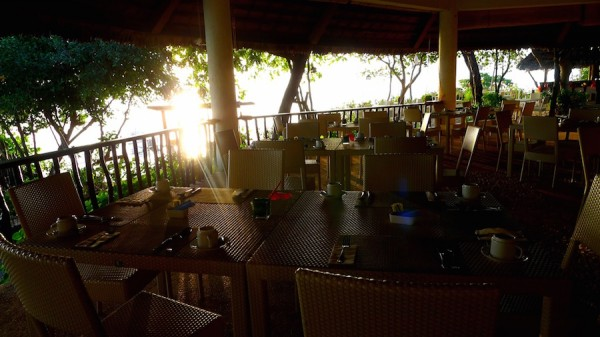 The sun striking through at Pavilion Restaurant