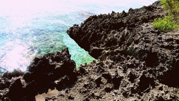 Sharp coral stones along the trek