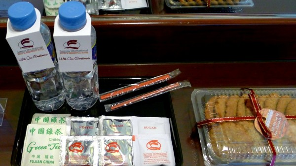 Complimentary water, snacks, tea and coffee