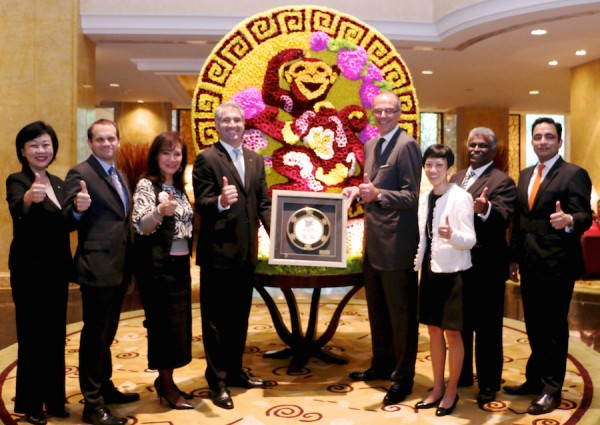 Shangri-La Hotel, Kuala Lumpur is starting the Year of the Monkey with a big bang after being named the winner of the Best 5 Star Hotel in the Going Places Readers' Choice Awards 2015 last week. Area General Manager Manfred Weber (fifth from left) celebrating the achievement with his EXCOM team.