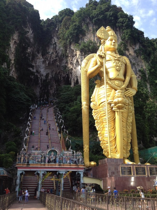 the Hindu god welcoming tourists at the entrace of Batu Caves