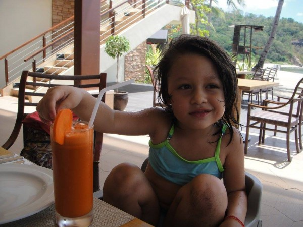 Naturally sweet carrot and apple juice to prep the kids for a full sunny day on the beach