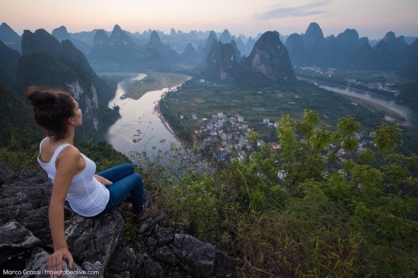 The view over the karst mountains in Xingping China