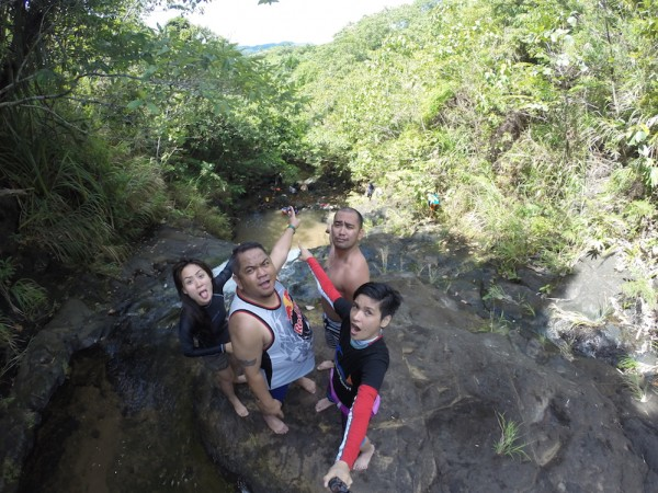 Having fun on top of Bayumbong Falls