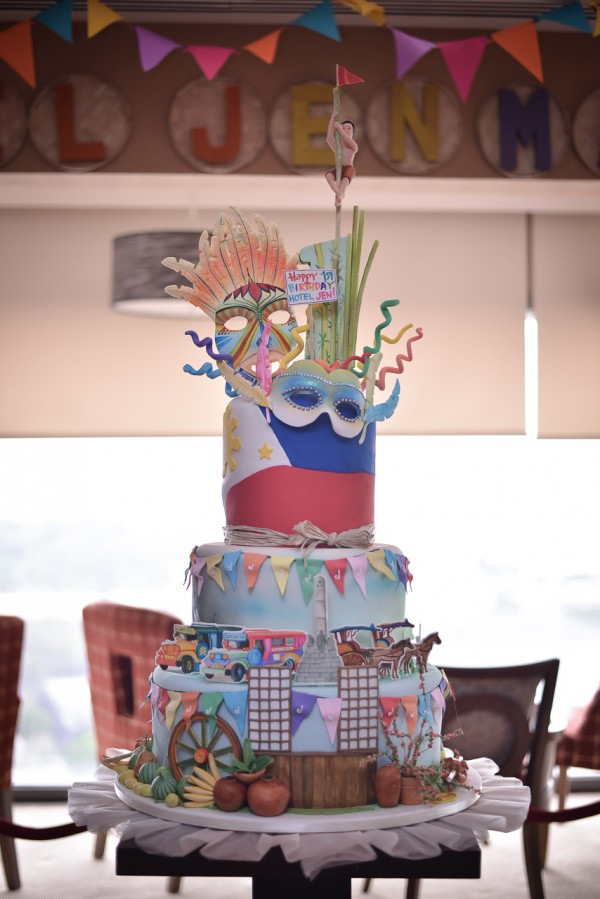 Hotel Jen Manila's anniversary cake featuring the Philippine flag, national symbols and famous tourist destinations