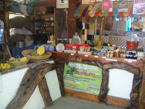 A mini market of organic produces in the cafe