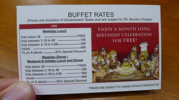 Buffet rates