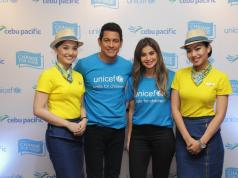 UNICEF Ambassador Gary Valenciano and Celebrity Advocate for Children Anne Curtis with the Cebu Pacific cabin crew