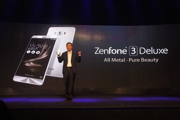 ASUS Global CEO Jerry Shen unveils the new Asus ZenFone 3 Deluxe during the Philippine  launch