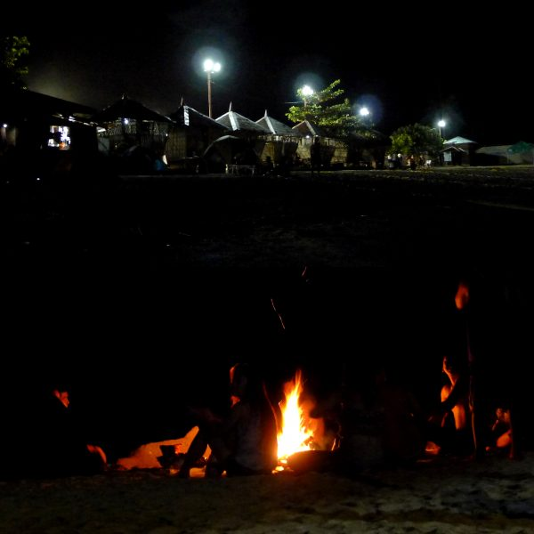 Beach scene at night