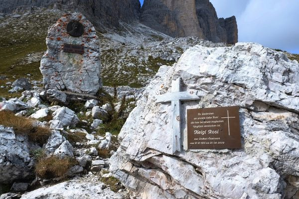 Memorial to those who died trying to make it to the top of Tre Cime.