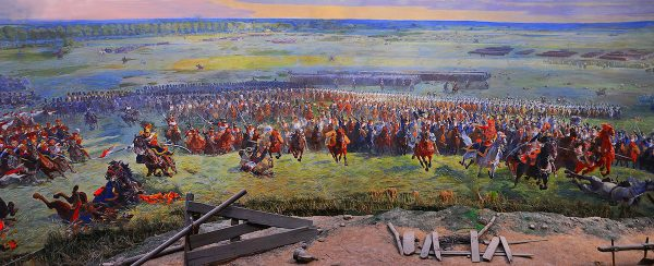 Part of the mural painting depicting views of the fighting that took place.